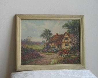 Vintage English Cottage Flower Garden Wall Art Print In Beveled Wood Frame With Cream Paint, Cobblestone Path