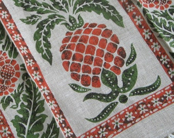 Vintage Pineapple Flowers Linen Tea Towel Handprinted by Kay Dee, Oatmeal Burnt Orange Green Brown, Tropical Island Kitchen Hospitality
