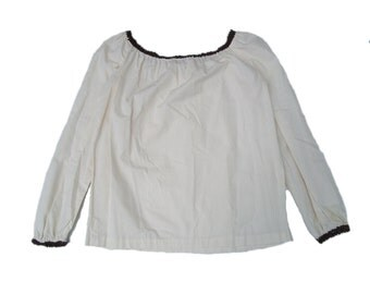 1970s prairie bishop sleeve cream cotton elastic neckline 70s blouse shirt top small S vintage women rick rack folk hippie festival boho
