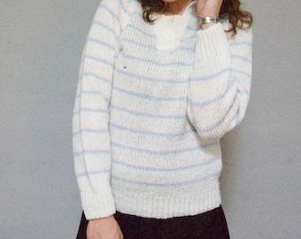 pastel stripe super kawaii chunky knit puffy shoulder sleeve warm winter vintage pullover striped stripes white pink blue M