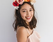 orange pink spring racing fascinator // spring races flower crown headband, statement floral headpiece, melbourne cup, oaks day