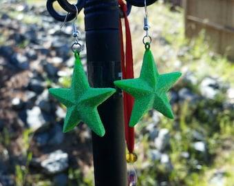 Green Glitter Star Earrings - Neon Green - Bright Green Christmas Star 80s Earrings