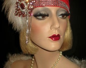 RED HAT SOIREE- Art Deco Great Gatsby Hat, Ruby Red & Silver Cocktail Hat, Red Hat Society Flapper, Old Hollywood Cap, 20s Flapper Headpiece