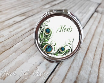 Monogrammed Compact Mirror Bridesmaid Gift - Styalized Peacock