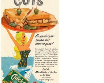 1960's Ad Miss Chicken Of The Sea, Catalina - Authentic - Original - Advertising Tuna - Center Cuts - Adorable