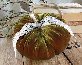 Velvet Pumpkin w/ vintage silverplate stem - OLIVE GREEN - holiday decor - Harvest