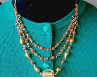 Italian Goldstone, Swarovski Crystal and Vintage Brass Necklace & Earring Set - Mid Century  Modern - Vintage Inspired