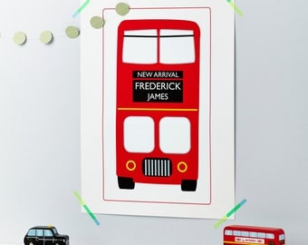 New Baby - Child - Bus - London Bus - Red Bus - Personalised Print - First Christmas - New Arrival