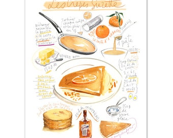 Crepes suzette recipe print, French recipe poster, Kitchen print, Kitchen wall art, Food artwork, Crepes illustration, Watercolor painting