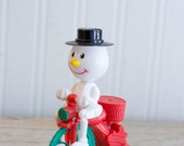 Vintage Snowman, Wind Up Snowman, Snowman Tricycle, Snowman Trike, Snowman on Bike, 1980s Christmas Toy, Christmas Wind Up, Retro Christmas,