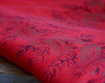 Vintage Christmas Tablecloth, Red Linen, Winter Holly Berries, Berry Branches with Leaves, Holiday Entertaining, 50x56 Linen Tablecloth