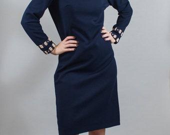 Vintage 1960s 60s Navy Blue Turtle Neck Shift Dress Floral by Bleeker Street