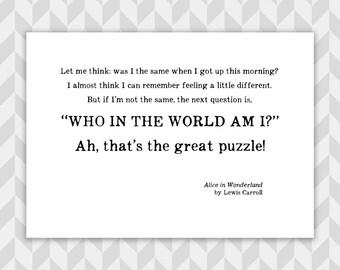 Alice in Wonderland quote print, Typographic art, Lewis Carroll, Literature