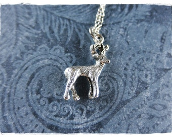 Silver Stag Necklace - Antique Pewter Stag Charm on a Delicate Silver Plated Cable Chain or Charm Only