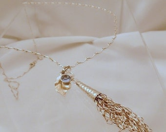 Sterling Tassel Necklace with Leaf & Lt Sapphire Crystal
