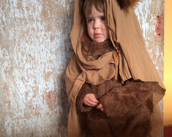 EWOK Halloween Kids Costume for Boys or Girls, Toddler Costume, Childrens Costume, hood, suit headscarf Star Wars forest eewok