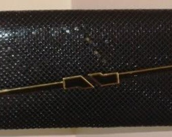 Glam Black and Gold Mesh Evening Bag-Clutch