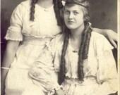 Teenage EDWARDIAN Girls With Long Loose CURLS In Their HAIR circa 1910s