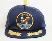 Apollo 11 Vintage Snapback Trucker Hat Mesh Blue Patch Gold Leaf NASA Eagle