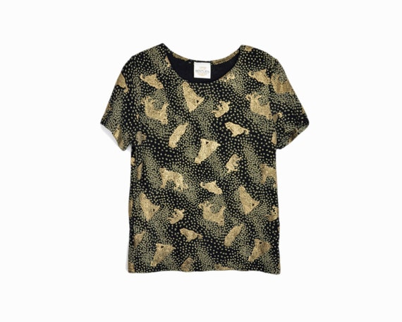 Vintage 90s Metallic Gold Leopard Tee / Stretchy Black Top - women's large