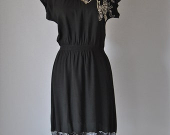 Vintage Bali Dress 70s Black Cutwork Lace Dress Floral Dress