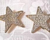 Super Star Clip On Earrings Gold Tone Vintage Large Rhinestones Rimmed Edges
