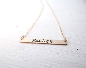 Custom Name Hand Stamped Bar Necklace. Thin Small Silver Bar with name of your choice. Minimalist, Engraved, Custom, Name Jewelry.