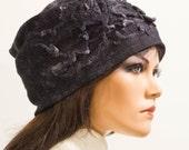 Felt free form black grey hat soft Chunky light felted silk no size Unique exclusive Regina Doseth handmade in Lithuania EU