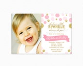 Pink and Gold Sparkle Birthday Party Invitation, She leaves a little sparkle, Gold Glitter, Pink, Polka Dot, Photo, Printable
