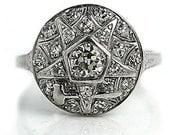 Antique Engagement Ring .82ctw Vintage Diamond Ring Art Deco Engagement Masonic Ring Order of the Eastern Star Masonic Ring Platinum Ring
