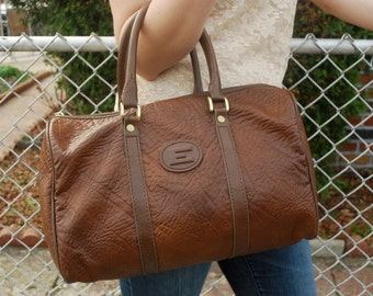 Brown Faux Leather Speedy Doctor Bag Letter E Emblem
