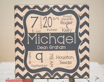 Personalized gifts custom wall decor frames by giftedoak on etsy birth announcement sign baby gifts chevron baby name sign newborn birth stat negle Gallery