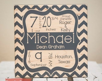 Personalized gifts custom wall decor frames by giftedoak on etsy birth announcement sign baby gifts chevron baby name sign newborn birth stat negle Choice Image
