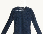 Navy Lace Fitted Long Sleeve Top + Stretchy See Thru +  Floral Bells // by Gaviota made in USA // Size Medium