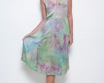 vintage Anthropologie sheer dress tie dye watercolor silk flowy green purple pleated shoulders M MEDIUM