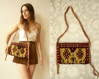 1970's Vintage Indian Hippie Tapestry Carpet Bag Shoulder Bag