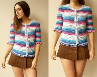 1970's Vintage Hand Crochet Scalloped Trim Knitted Rainbow Cardigan Size XS