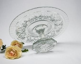 Pressed Glass Pedestal Cake Plate / Cupcake Stand / Pie Plate / Cake Stand