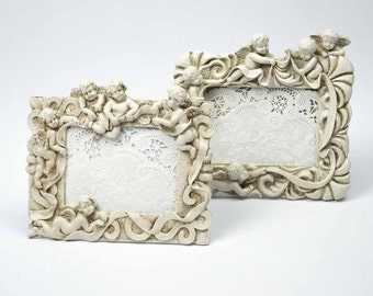 Picture Frame Pair / Faux Stone Cherub Frames / Nursery Decor / Nursery Picture Frames / Old World Aged White