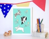 Rabbit Art Print, A4 Digital Print, available in blue or pink