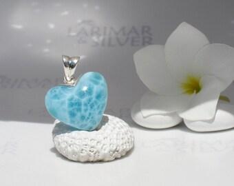 Larimarandsilver pendant, Lovely Mermaid 2 - sea blue Larimar heart, aqua teal, turtleback, sea of love, aquamarine handmade Larimar pendant