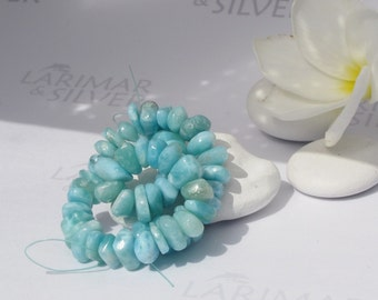 Larimar nuggets, sorted Larimar beads, rounded squares, Caribbean blue, turquoise nuggets, sea blue, tile beads - handmade beads, 8'' strand