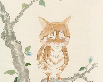 Cute cat owl meowl sumi-e watercolor painting - Oz Meowl 8x10 (Print)