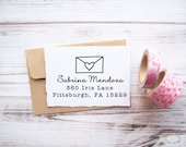 Return Address Stamp Love Letter with Heart - Custom Wedding Save the Date Stamp