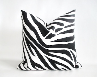 Pillow Cover Zebra Black & White Both Sides Zipper Microfiber Suede