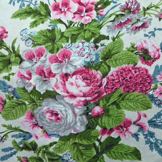 Reclaimed Floral Fabric 1980s Vintage Home Decor Or Craft