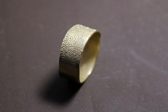 14k gold fingerprint ring, unique wedding band, unique commitment ring, OOAK finger print band