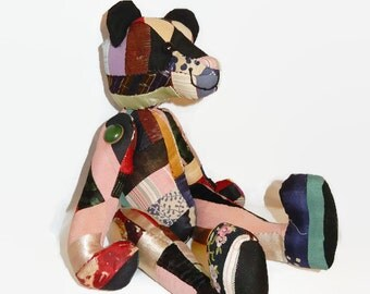 Vintage Crazy Quilt Artist Teddy Bear