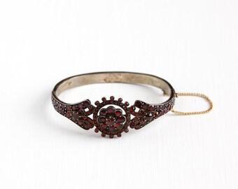 Antique Victorian Bohemian Garnet Gem Bracelet - Late 1800s Hinged Deep Red Gemstone January Birthstone Gilded Flower Bangle Jewelry