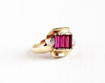 Sale - Vintage 10k Yellow & White Gold Created Ruby Ring - Size 3 1/2 1940s Art Deco Mid Century Baguette Cut Pink Gemstone Fine Jewelry